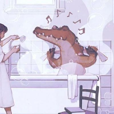 粉色系小女孩与鳄鱼唯美沐