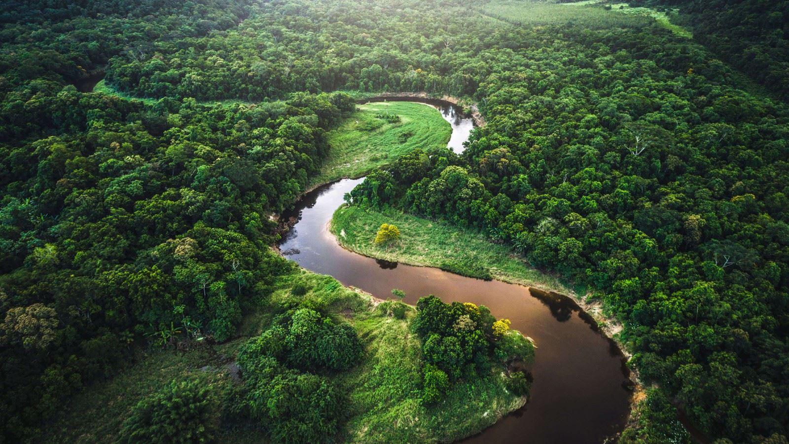 绿色山水景色治愈优美高