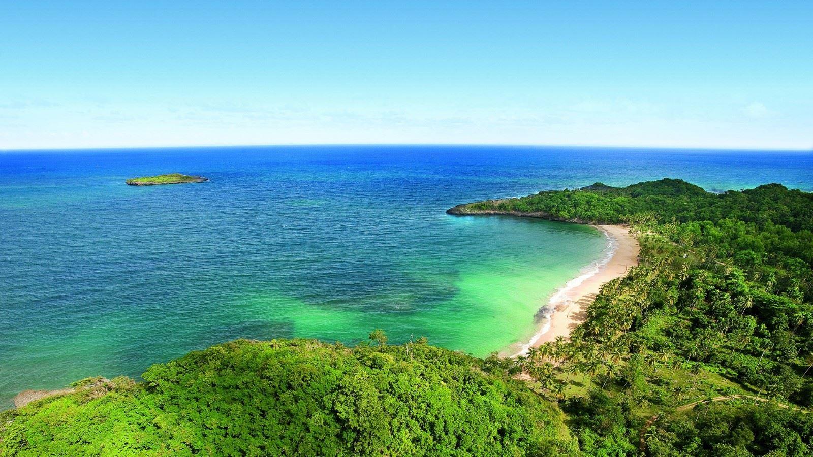美丽的海洋,岛屿,棕榈树,风景桌面壁纸图片