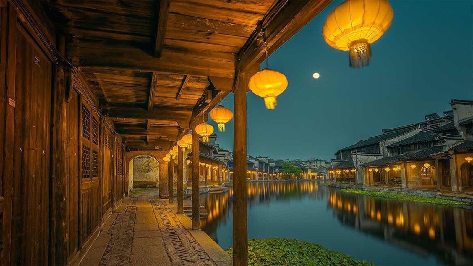 江南水乡夜色风景
