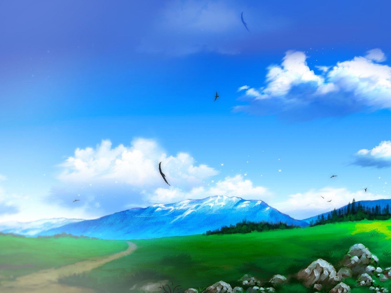 精选治愈手绘版蔚蓝天空