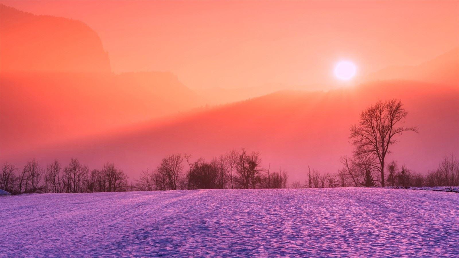 橘红色清晨日出高清风景