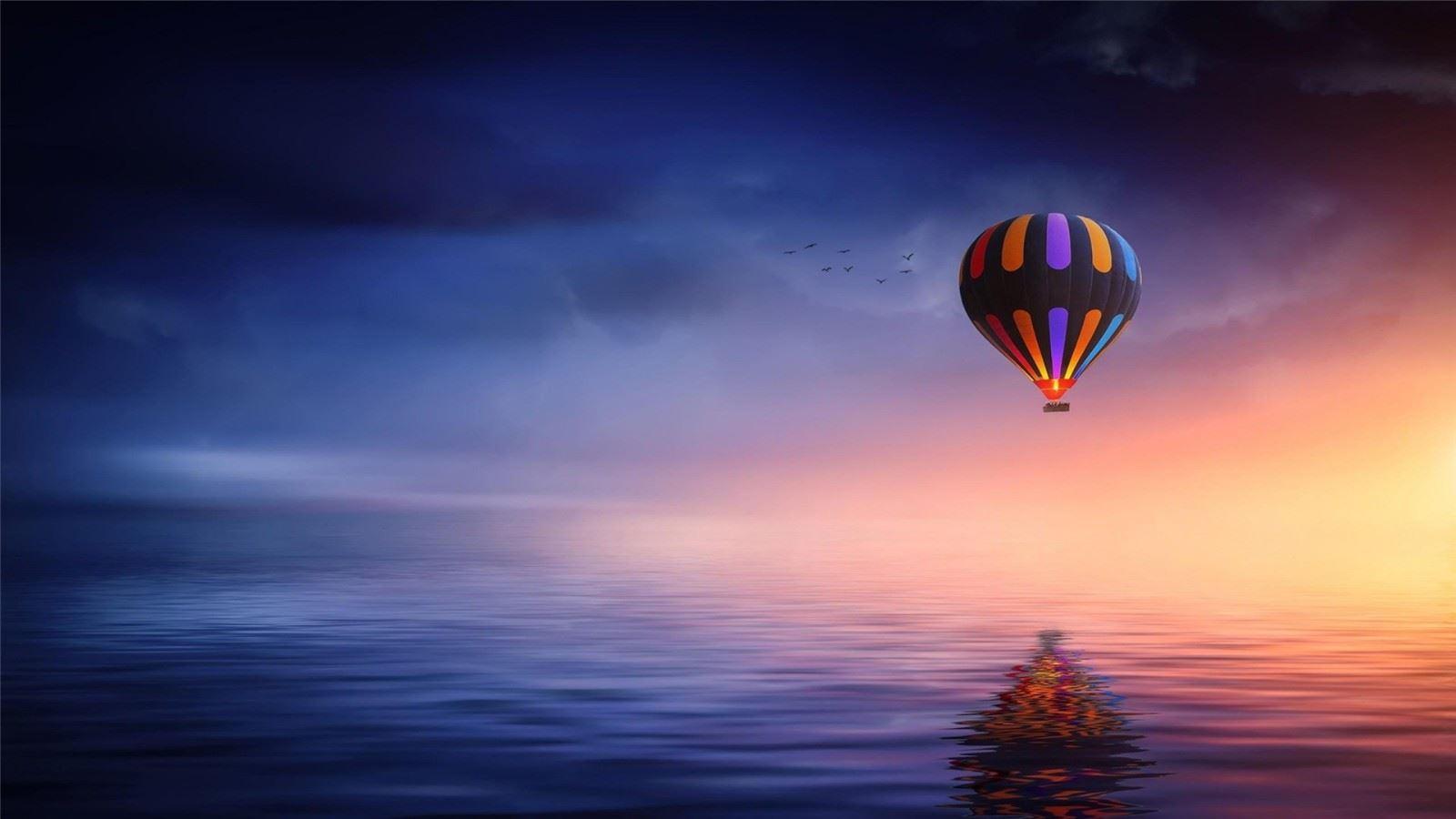 热气球五彩斑斓光影下治
