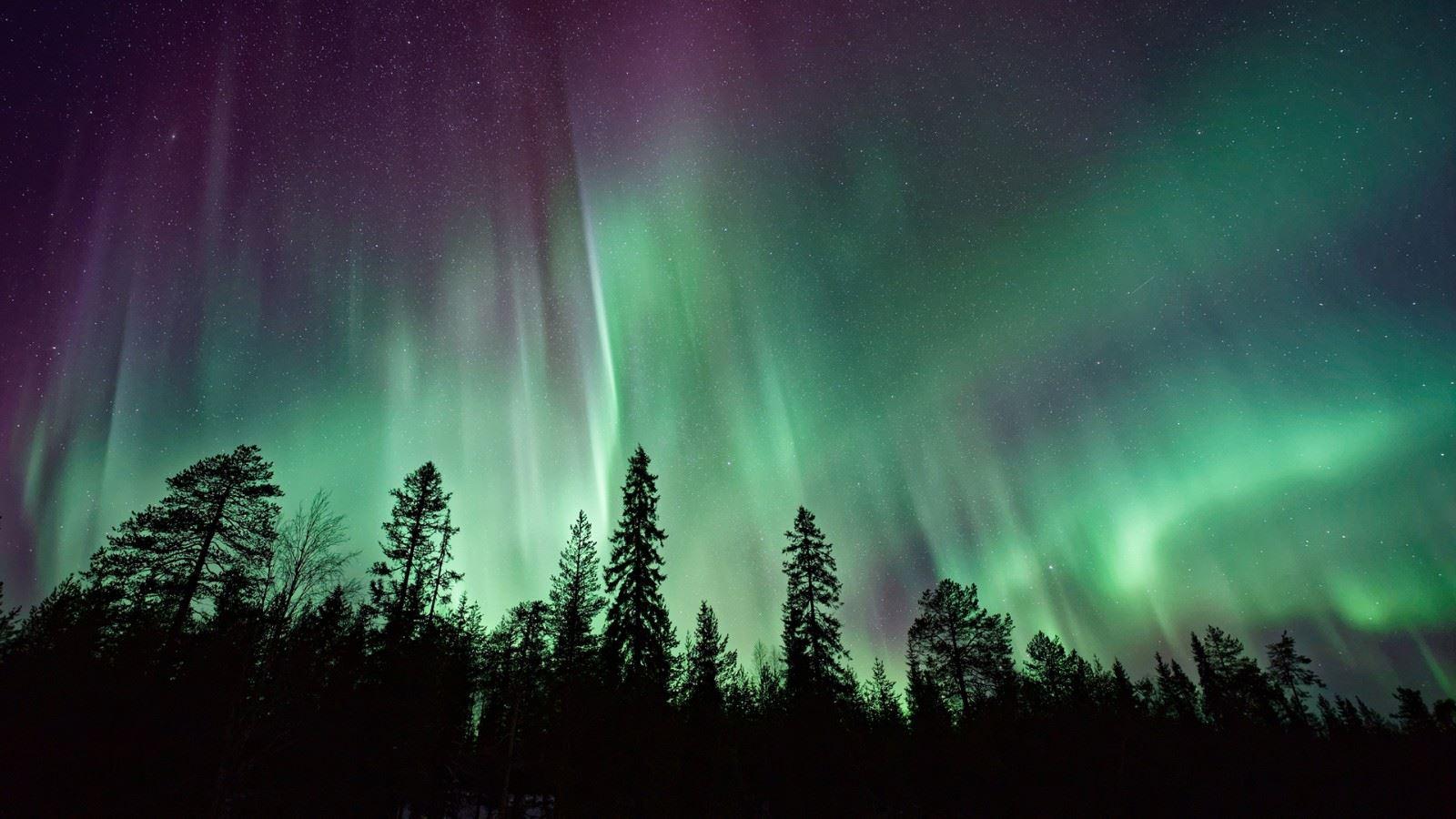 夜晚北极光星空治